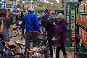 Long lines at the Harris Teeter store at Pentagon Row