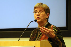 Arlington County Board Chair Mary Hynes speaks to the Arlington Civic Federation 2/3/15