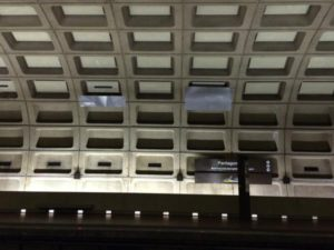 Sheet metal covering leaks in the Pentagon City Metro (photo via @jurbanchuk)