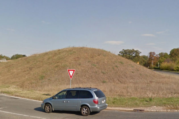The mound of dirt in the ramp from eastbound Route 50 to northbound Washington Blvd (photo via Google Maps)