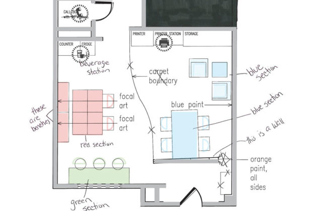 The floor plan of cove's Rosslyn location