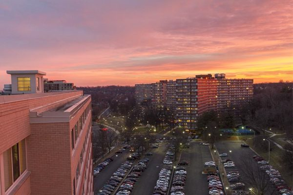 Apartment building in Pentagon City at sunset
