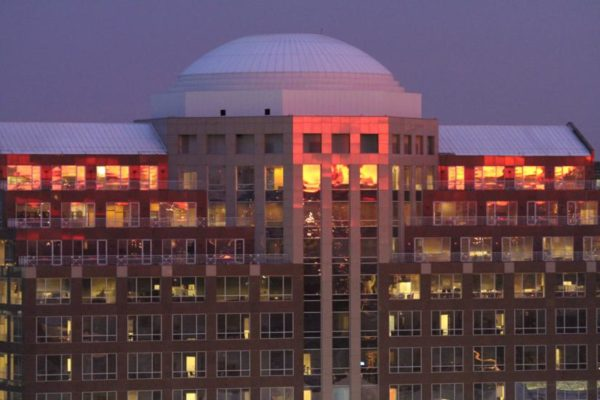 Pentagon City office building at dusk