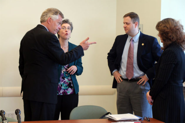 McAuliffe talks with Del. Patrick Hope (D-47)
