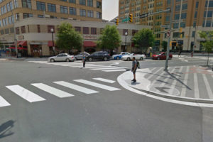 Clarendon sidewalk bumpout (photo via Google Maps)