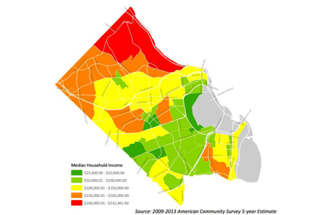 Median household incomes in Arlington (image via Arlington County)
