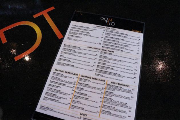 Don Tito's dinner menu