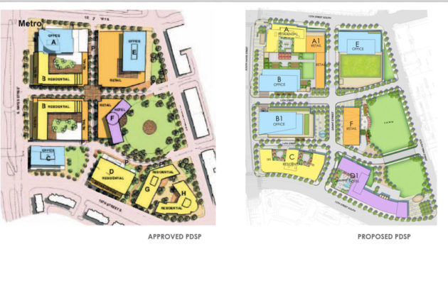 On the left, the approved site plan from 2008. On the right, the proposed site plan