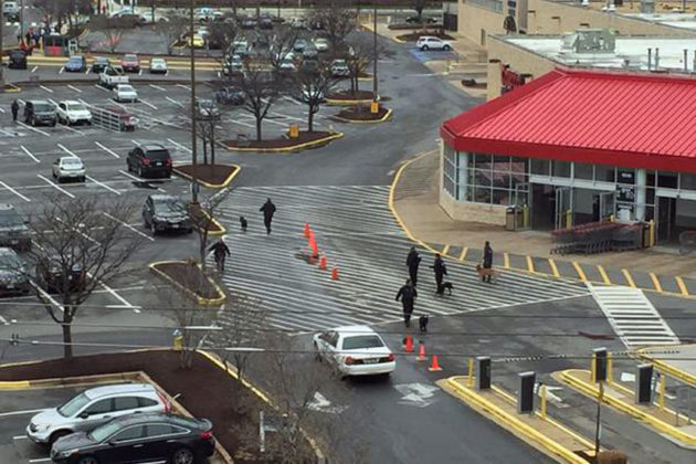 Police respond to a Pentagon Centre bomb threat (photo via @WestwoodKing)