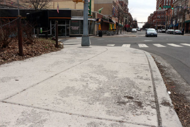 The sidewalk at Wilson Blvd and N. Fillmore Street