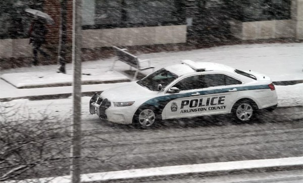Arlington police car driving in the snow on 3/5/15