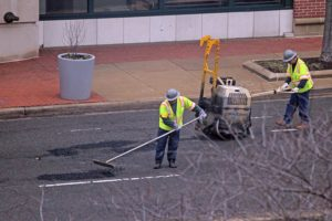 Arlington County crews filling potholes on S. Joyce Street
