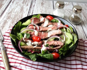 Grilled mesquite flank steak salad, by Savory