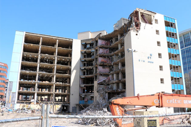 The Blue Goose building in Ballston being torn down April 6, 2015