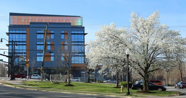 Arlington Mill Community Center on Columbia Pike in the spring (photo courtesy @TheBeltWalk)