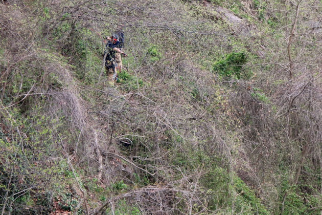 ACFD and ACPD rappel down the cliff to investigate the found dead body