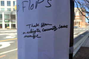 """Let's Not Do Flip-Flops"" sign in Clarendon"
