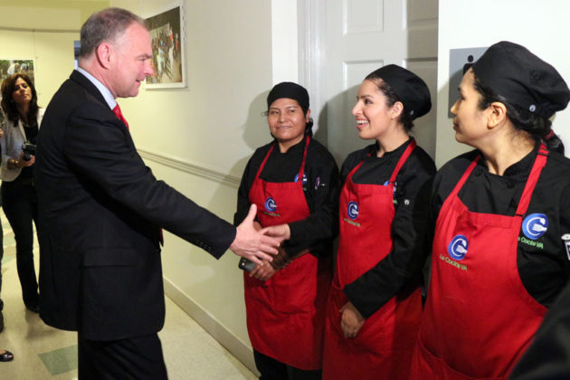 Sen. Tim Kaine visits La Cocina VA, a job training program for Hispanic immigrants