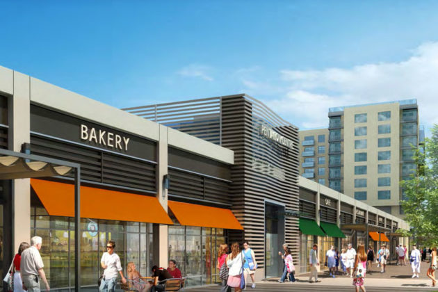 Rendering of the retail building along S. Hayes Street