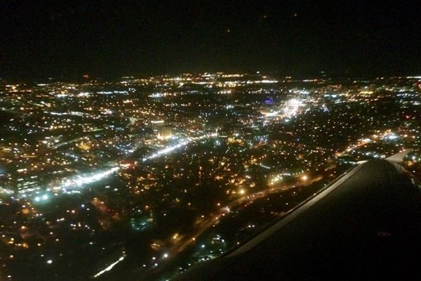 The Rosslyn-Ballston corridor as seen from a flight arriving at DCA at night