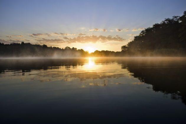 Beautiful sunrise above the lake
