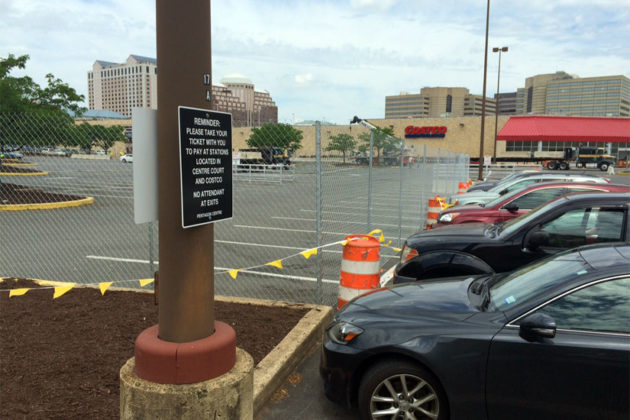 Construction walls off about half of the Costco Pentagon City parking lot