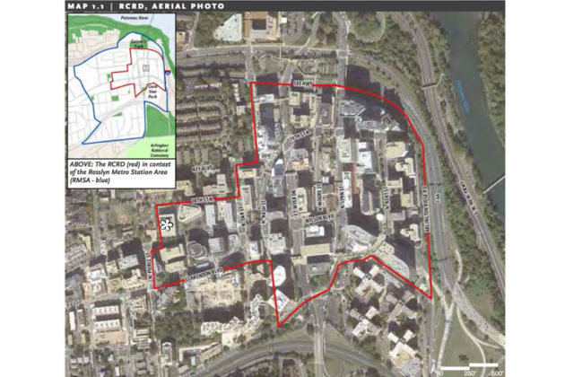 The map of the the Rosslyn Coordinated Redevelopment District