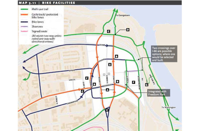 The proposed bike network the in the Draft Realize Rosslyn plan