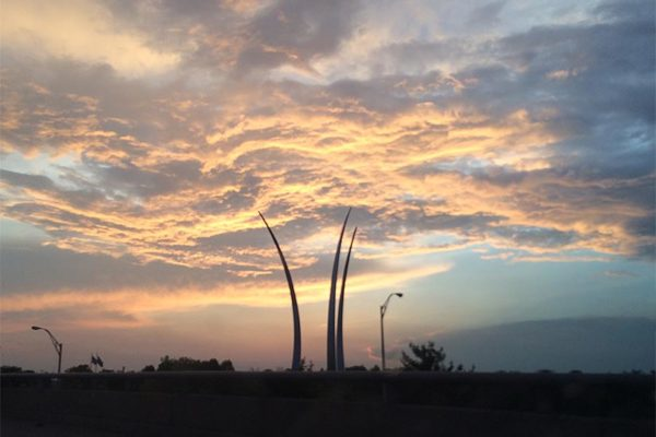 Cloud formation behind the Air Force Memorial at sunset (photo courtesy Valerie O'Such)