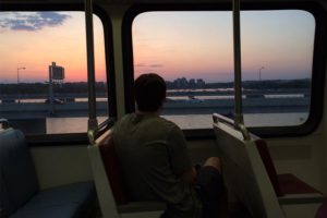 Watching the sunset while on a Metro train crossing the Yellow Line bridge over the Potomac