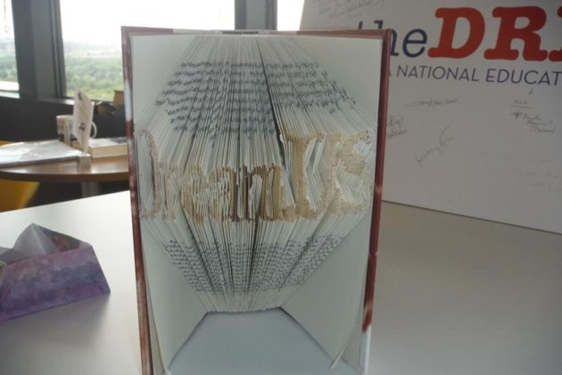 One DREAMer sent in this book as a thank you; the folded pages spell 'DreamUS'.
