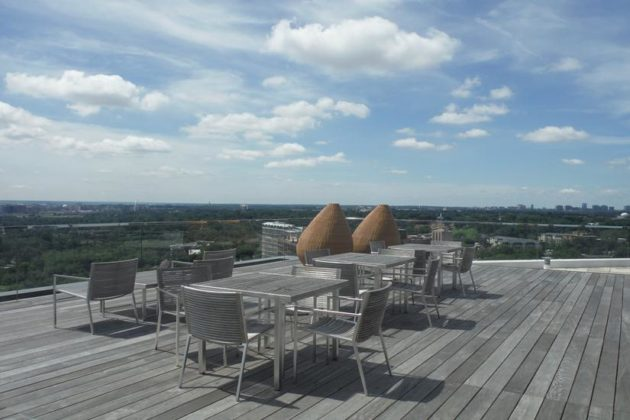 The office's rooftop terrace offers views of Alexandria, Arlington and the District.