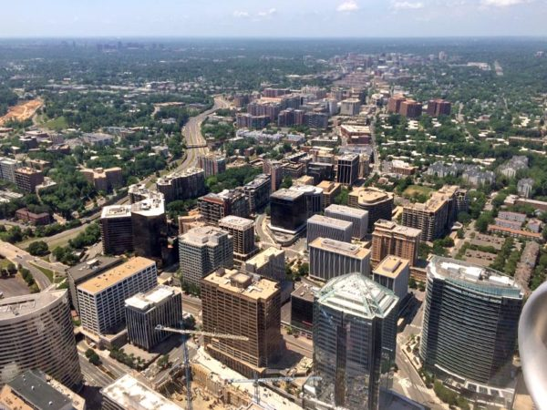 Aerial view of Rosslyn as seen from a flight arriving at DCA