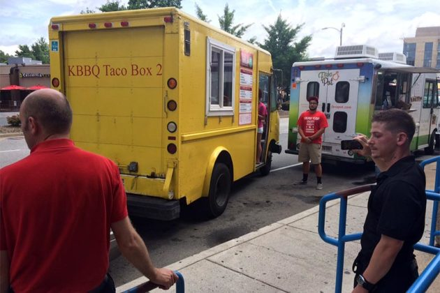Food trucks in Courthouse, including one that backed into a car at low speed