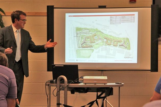 A Vornado employee gives a presentation about the proposed RiverHouse development