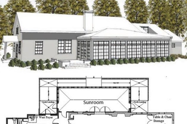 Floor plan and rendering of Community Center renovations (photo courtesy Jeannette Wick)