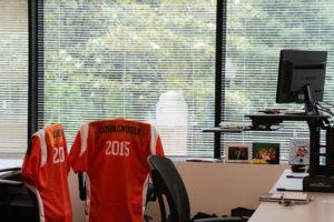 Snagajob standing desk and jerseys