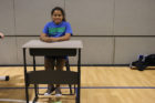 Student on a swing desk