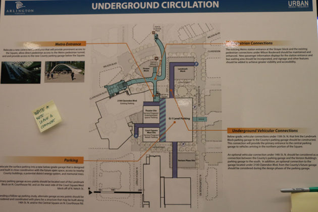 Map of the planned underground circulation, including Metro and parking.