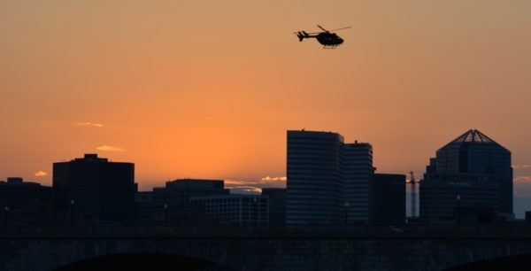 Rosslyn sunset and helicopter (Flickt pool photo by John Sonderman)