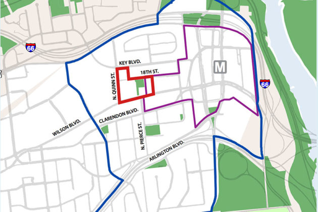 The Western Rosslyn Area Plan (red) and The Rosslyn Sector Plan (purple) via Arlington County