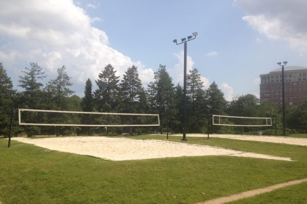 Feel your toes in the sand and make new friends at the sand volleyball courts