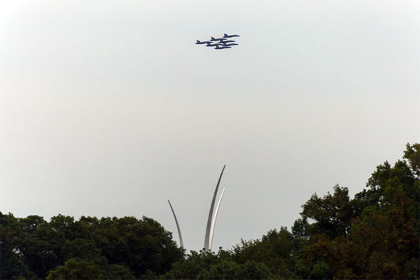 Blue Angels over the Air Force Memorial on Sunday