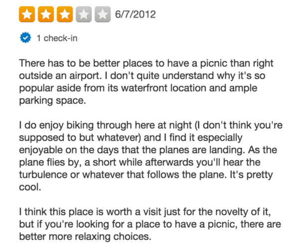 Yelp Review of Gravelly Point