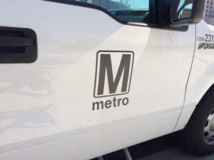Metro logo on a pickup truck