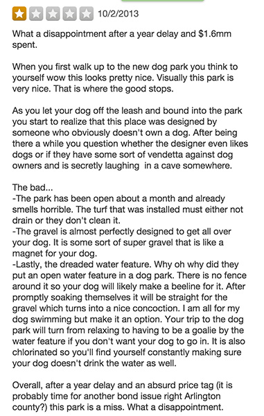 James Hunter Park Yelp review