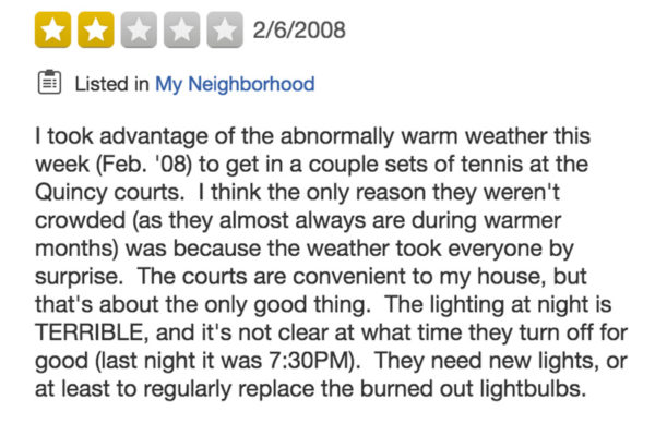 Yelp review of Quincy Park