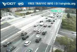 Heavy traffic on I-395 at Glebe Road on 8/6/15