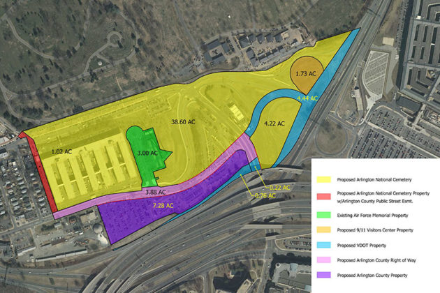 Map of a 2015 land swap agreement between Arlington County, VDOT and the U.S. Army