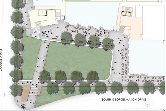 Overall design of Village Center public square (via Arlington County)